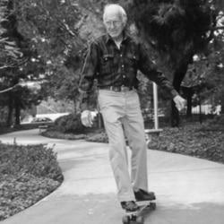 Louis Zamperini on a skateboard