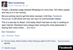 Mark Zuckerberg's Facebook post on Thursday morning