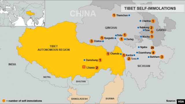 Tibet Self-Immolation Map, October 1, 2012 update