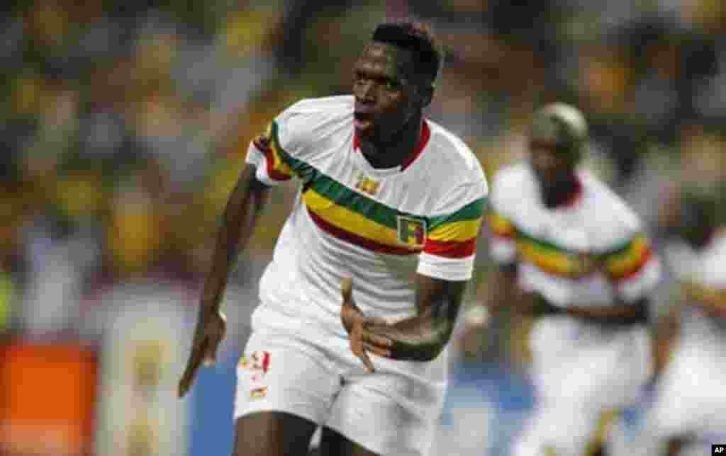 Mali's Cheick Tidiane Diabate celebrates his goal against Gabon during their quarter-final match of the 2012 African Cup of Nations football tournament at the Stade De L'Amitie Stadium in Gabon's capital Libreville February 5, 2012.