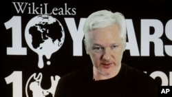 WikiLeaks founder Julian Assange participates via video link at a news conference marking the 10th anniversary of the anti-secrecy group, in Berlin, Germany, Oct. 4, 2016.