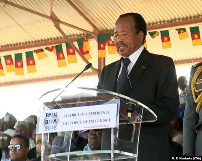 President Biya addresses the crowd.