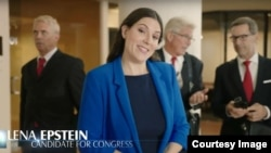 Michigan Republican candidate Lena Epstein against a backdrop of skeptical men in a screenshot from a campaign television ad.
