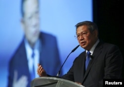 FILE - Former Indonesian president Susilo Bambang Yudhoyono delivers a speech in Singapore.