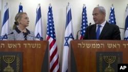 Sakatariyar harkokin wajen Amurka Hilary Clinton da PM Isra'ila Benjamin Netanyahu, a birnin kudus, ranar 20 ga watan jiya.