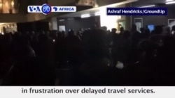 VOA60 Africa - South Africa: Protesters torch trains and smash windows at Cape Town's central rail station