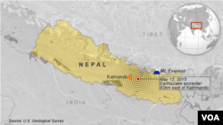 May 12, 2015 earthquake, 83 km east of Kathmandu, Nepal