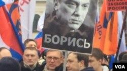 Marcha en Moscú por la muerte de Nemtsov.