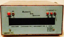 This is the first patented caller ID, developed at the Boeing Corporation facility in Huntsville, Alabama, in 1971. Caller ID would appear directly on phones.