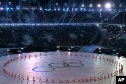 9일 강원도 평창 올림픽스타디움에서 열린 2018 평창동계올림픽 개막식에서 공연이 펼쳐지고 있다.