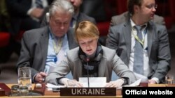 FILE - Deputy Foreign Minister of Ukraine Olena Zerkal speaks at U.N. Headquarters in New York during a Security Council open debate, Jan. 26, 2016 (Source - ukraineun.org). Zerkal insists Kyiv must have a seat at the table in any attempt by Washington and Moscow to settle the conflict in Ukraine's east.