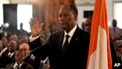 Alassane Ouattara is sworn into office as Ivory Coast's president on May 6, 2011 at the presidential palace in Abidjan after months of political violence