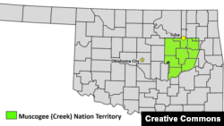 Map of Muscogee (Creek) Nation within the state of Oklahoma. Three of the state's largest cities, including Tulsa, lie partially or wholly within those boundaries.