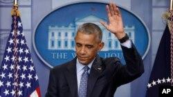 باراک اوباما در آخرین نشست خبری خود در کاخ سفید در مقام ریاست جمهوری آمریکا - چهارشنبه ۲۹ دی ۱۳۹۵
