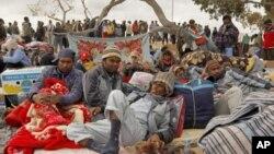 Công nhân di trú Bangladesh nghỉ ngơi trong khi chờ đợi để trở về quê nhà sau khi chạy khỏi Libya, tại 1 trại tị nạn gần biên giới Libya-Tunisia, 5/3/2011