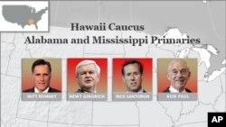 앨라바마 경선 공화당 대선 후보들 (왼쪽부터 미트 롬니, 뉴트 깅그리치, 릭 샌토럼, 론 폴 후보)