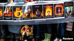 지난 12월 유엔 본부 앞에서 티베트 상황에 대한 관심을 촉구하는 시위가 열렸다. (자료사진)