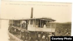 Colonial postcard show steamship on Congo River (David Halperin)