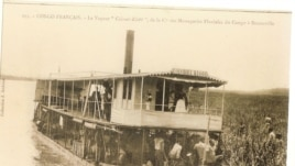 Colonial postcard show steamship on Congo River (David Halperin)