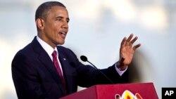 El presidente Barack Obama habla durante una conferencia de prensa desde Dar Es Salaam.