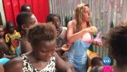 Com lágrima no canto olho, Cristina alegra crianças de São Tomé