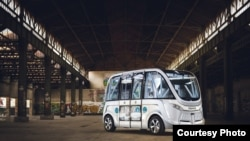 Las Vegas has tested a 12-passenger shuttle bus like this one from French company Navya. Officials hope to deploy more of the buses later this year. (Courtesy: Navya)
