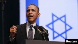 바락 오바마 미국 대통령이 21일 예루살렘 컨벤션센터에서 강연하고 있다.