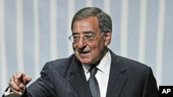 US Defense Secretary Leon Panetta after speaking to the Association of the US Army in Washington, Oct. 12, 2011