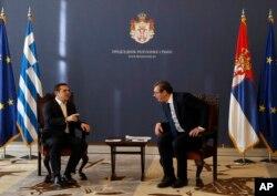 Premijer Grčke Aleksis Cipras i predsednik Srbije Aleksandar Vučić tokom susreta u Beogradu, 21. decembra 2018.