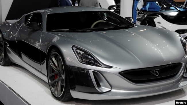 A Rimac Automobili Concept_One electric supercar, worth $1.2 million and one of only eight made, is displayed at the 2017 New York International Auto Show in New York City, U.S. April 13, 2017. REUTERS/Lucas Jackson/File Photo