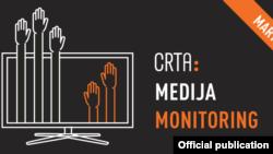 Naslovna grafika Medijskog monitoringa političkog pluralizma u Srbiji, koji je uradila i objavila organizacija CRTA, u Beogradu, 14. aprila 2021. (Grafika: CRTA)
