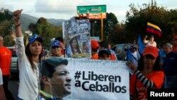 Ceballos está preso desde marzo de 2014 y se le juzga por rebelión y agavillamiento.