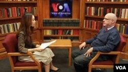 16일 VOA 이지원 기자와 인터뷰하는 조엘 위트 전 미 국무부 북한담당관(오른쪽).