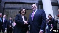 民進黨主席蔡英文與前美國副國務卿阿米蒂奇會面(美國之音鐘辰芳拍攝)