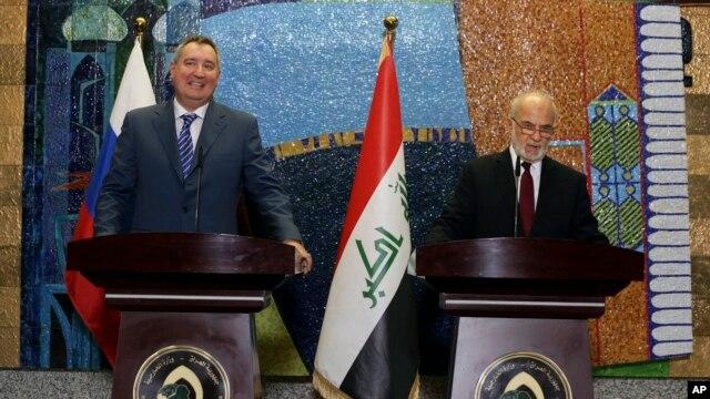 Дмитрий Рогозин (слева) и Ибрагим аль-Джафари. Багдад, Ирак, 11 февраля 2016.