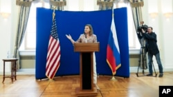 US Assistant Secretary of State Victoria Nuland addresses a press conference at the residence of the US ambassador to Russia in Moscow, May 18, 2015.