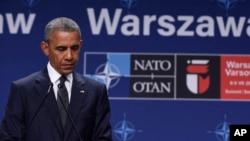 Presiden AS Barack Obama pada acara KTT NATO di Warsawa, Polandia (8/7).
