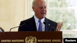 U.N. mediator for Syria Staffan de Mistura speaks to media after a new round of negotiations on the Syria conflict at the European headquarters of the United Nations in Geneva, Switzerland, March 14, 2016.