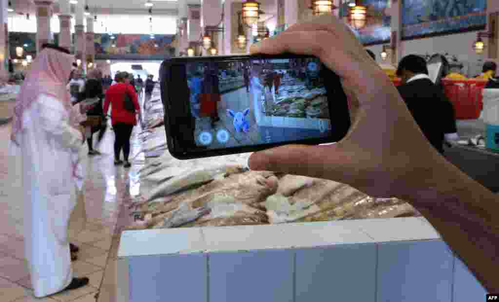 A gamer uses the Pokemon Go application on his mobile in the main fish market in Kuwait City, Kuwait.