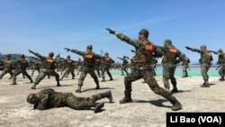 台湾海军陆战队2017年7月13日表演格斗(美国之音黎堡摄)