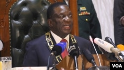 FILE: Zimbabwe's President Emmerson Mnangagwa is seen during his first State of the Nation address recently.