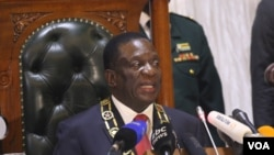 FILE - Zimbabwe's President Emmerson Mnangagwa is seen during his first State of the Nation address in Harare. (S. Mhofu/VOA)