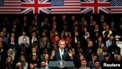 Tổng thống Obama tham dự một cuộc tranh luận ở Lindley Hall, London, Anh, hôm 23/4/2016.