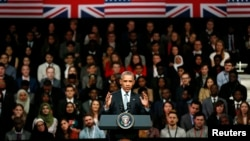 President Barrack Obama takes part in a Town Hall meeting at Lindley Hall in London, April 23, 2016.