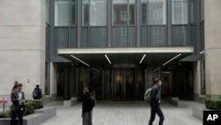 伦敦圣巴塞罗缪医院的正门,这家医院的电脑系统受到网络攻击(2017年5月12日)。