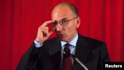 Italian Prime Minister Enrico Letta addressing news conference, Columbia University, New York, Sept. 26, 2013.
