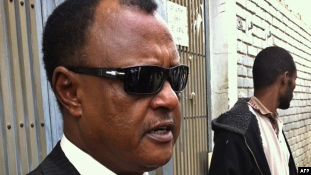 The defense lawyer for 24 people found guilty of terrorism in Ethiopia, Abebe Guta, talks to reporters on June 27, 2012 after a court in Addis Ababa found his clients guilty on charges of terrorism.