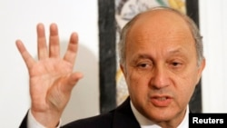 French Minister for Foreign Affairs Laurent Fabius speaks during a media conference in Tunis, May 14, 2013 file photo.
