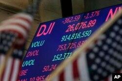 Un letrero electrónico en la Bolsa de Valores de Nueva York muestra la cifra de cierre del Promedio Industrial Dow Jones el martes 30 de enero de 2018.