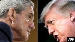 Prezidan Donald Trump (adwat); epi pwokirè Robert Mueller.